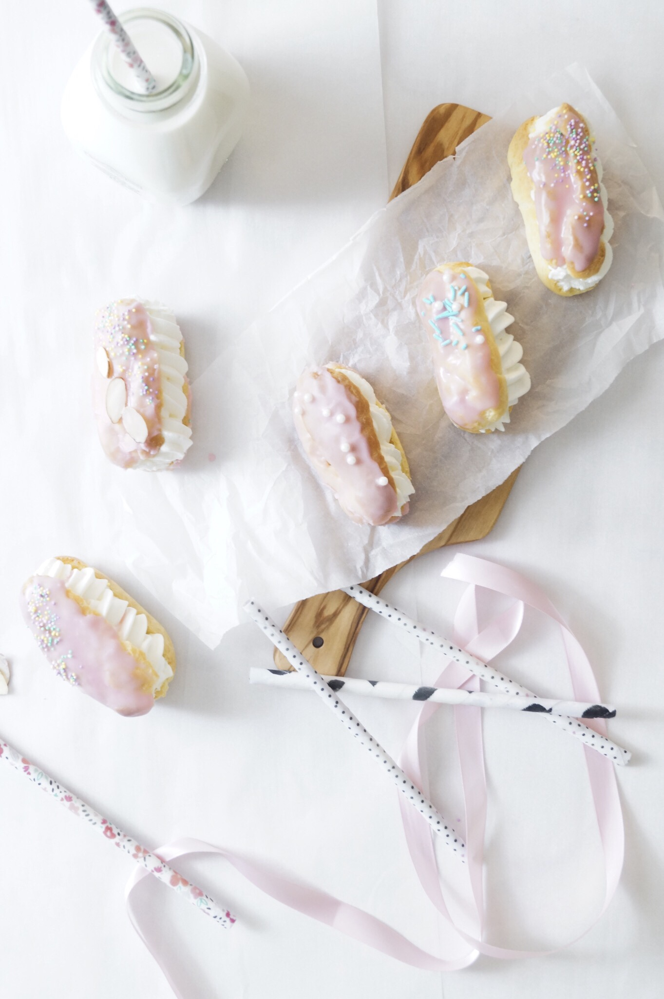 mini eclairs for party, mini desserts for baby shower, mini desserts for party, mini desserts cute, girls birthday party ideas, birthday cake ideas, non cake cake ideas, baby shower ideas, baby shower ideas for girls, mini dessert ideas, eclairs recipe easy,