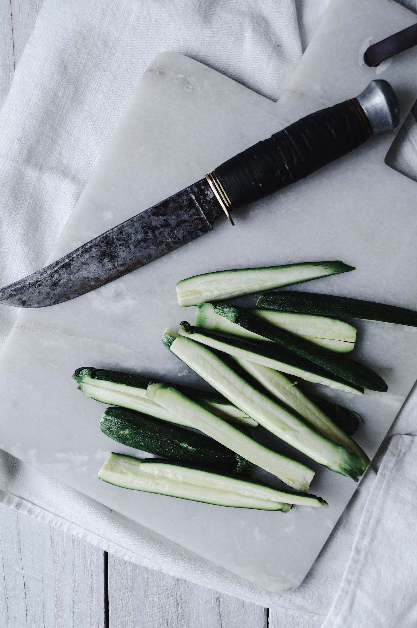 simple fare Zucchini recipe and light, bright minimal food photography and styling.