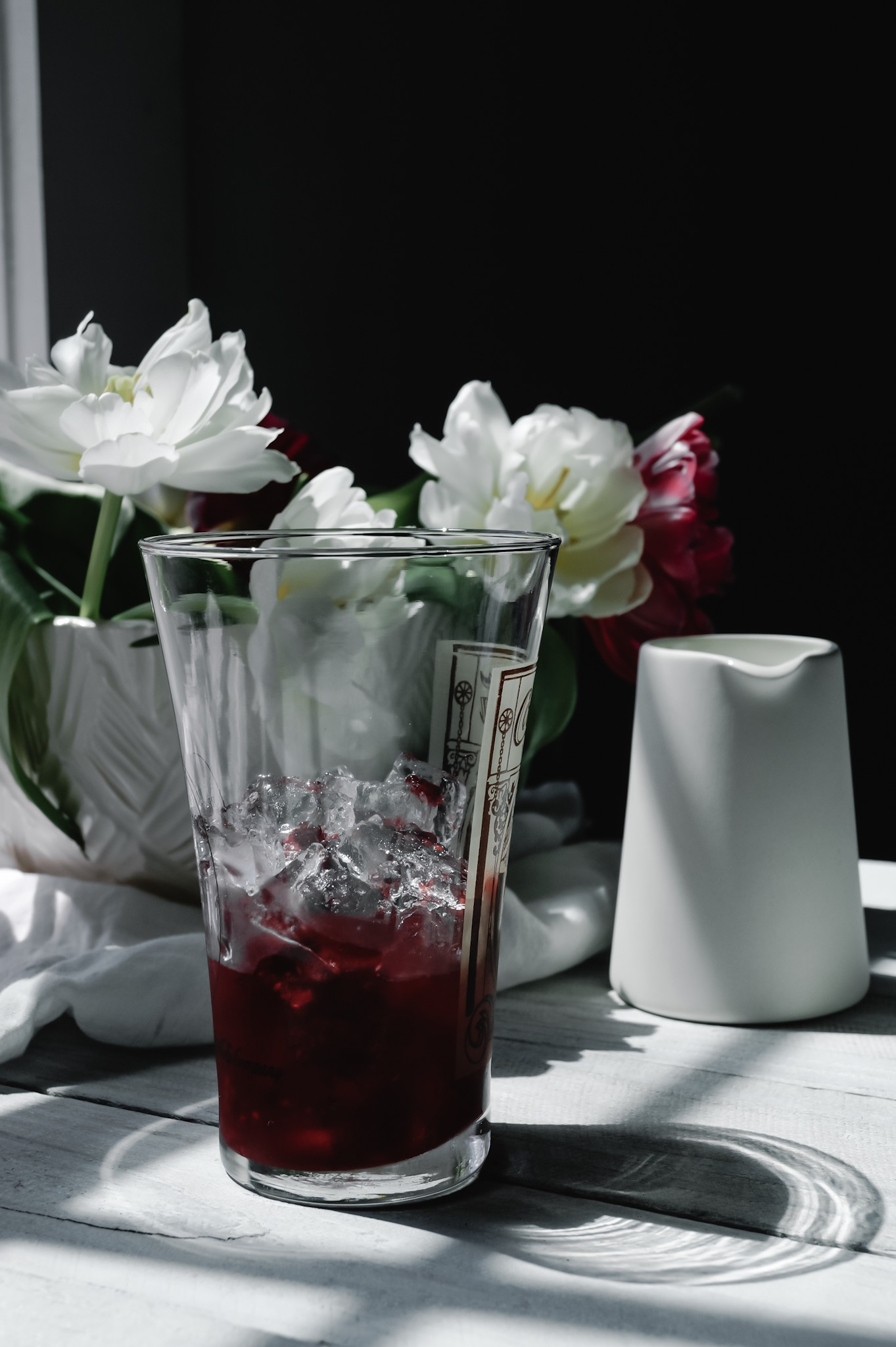 Simple syrup made of raspberries. We keep it on hand just for these French sodas.