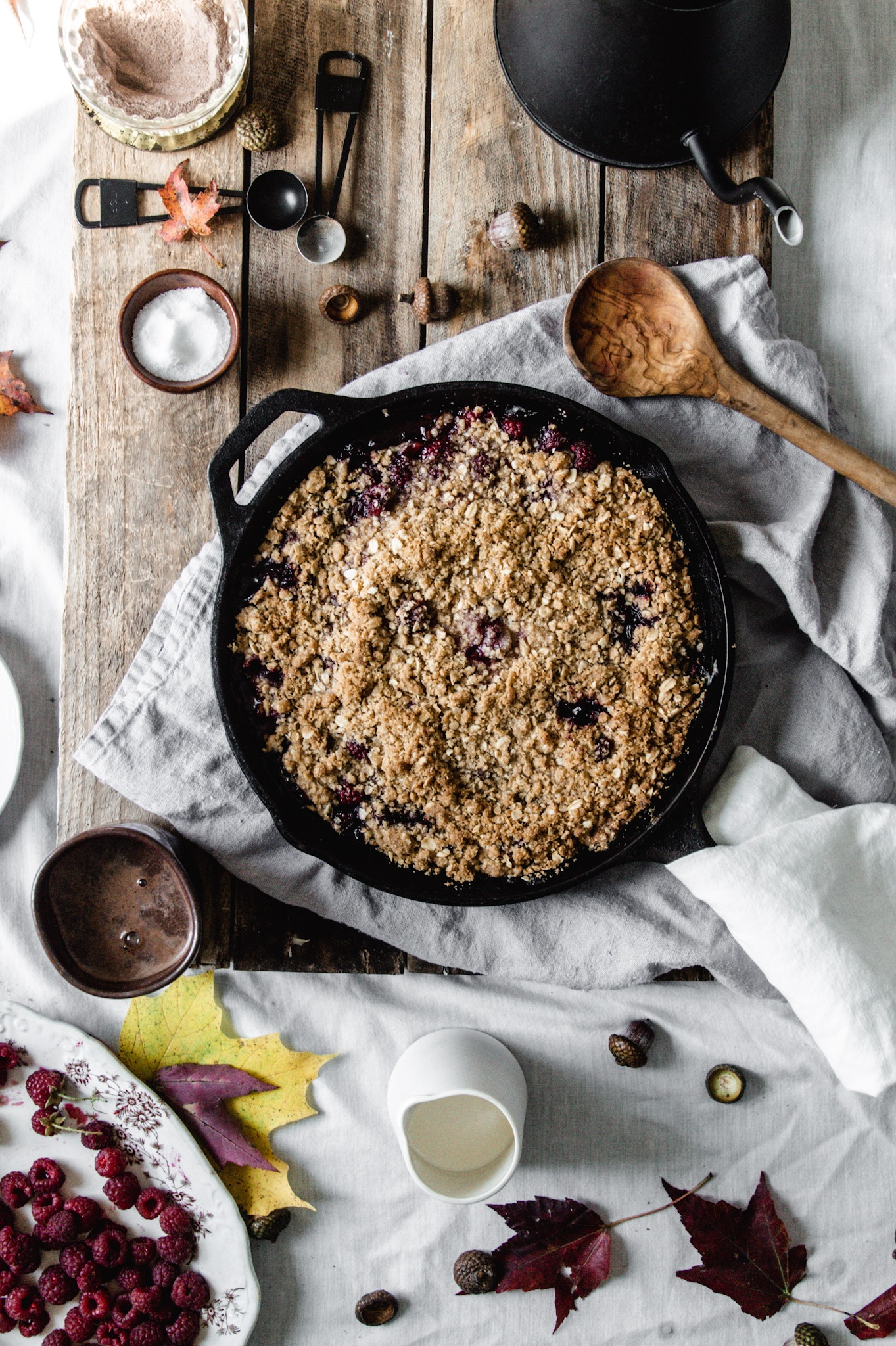 raspberries make up the fruit in this crumble with a crunchy oat topping.