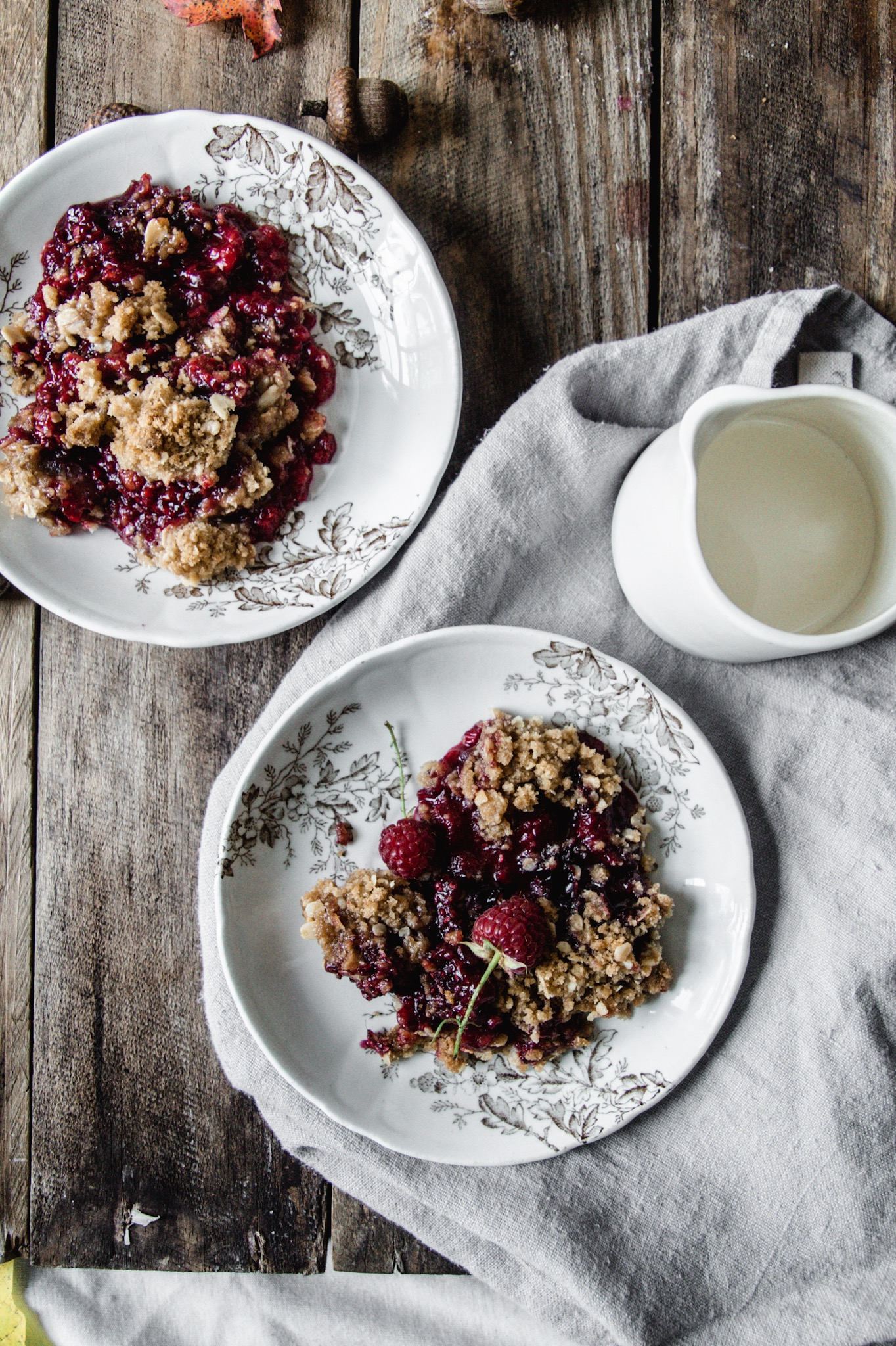 seasonal raspberry crisp for fall and tips for growing fall-bearing raspberries.
