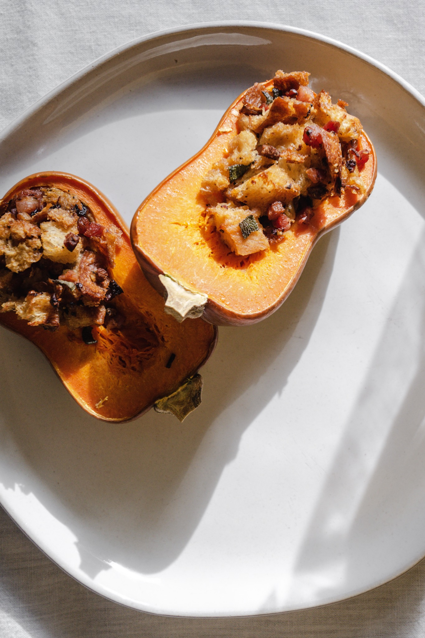 Sage and pancetta stuffing stuffed squash. Fall roasted honeynut squash recipes.