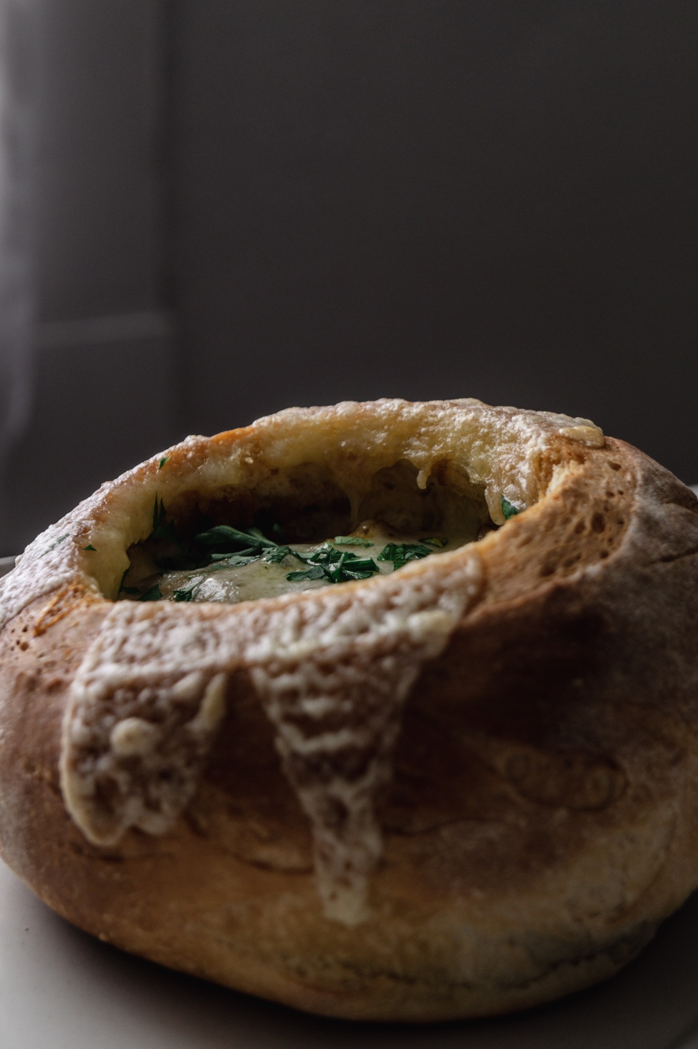 fall french onion soup in bread bowls