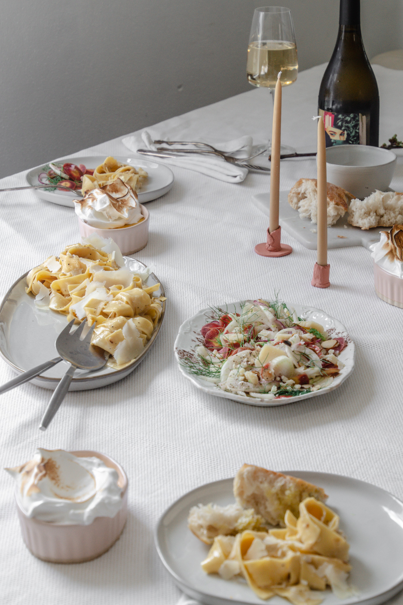 Simple pasta and fresh side salads make an understated and comforting quarantine Easter dinner